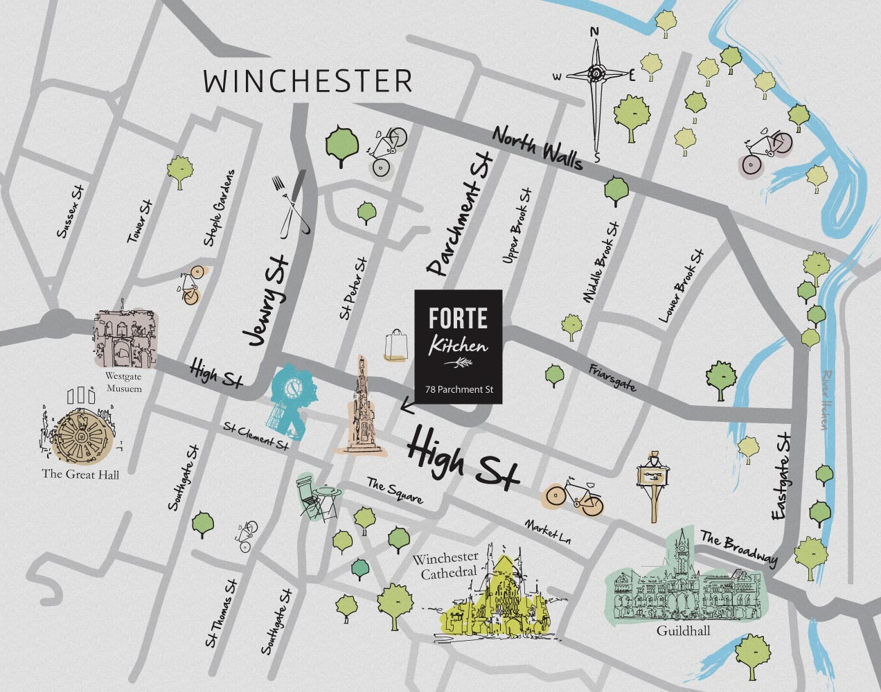 Forte Kitchen Restaurant And Cafe In Winchester Hampshire - Us parchment map